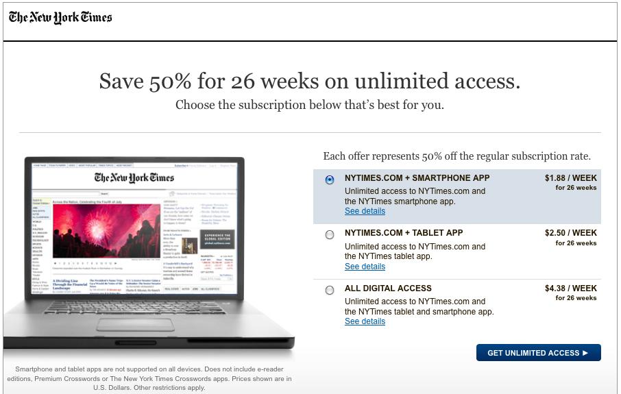NYT Online Subcription Rates