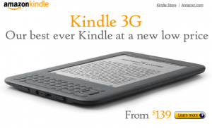 Amazon Kindle 3G price drop